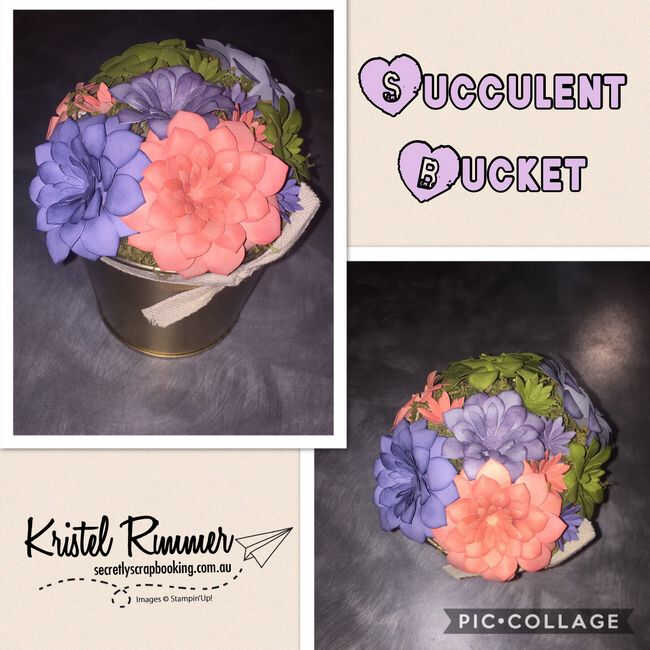 Succulent Bucket Of Paper Flowers