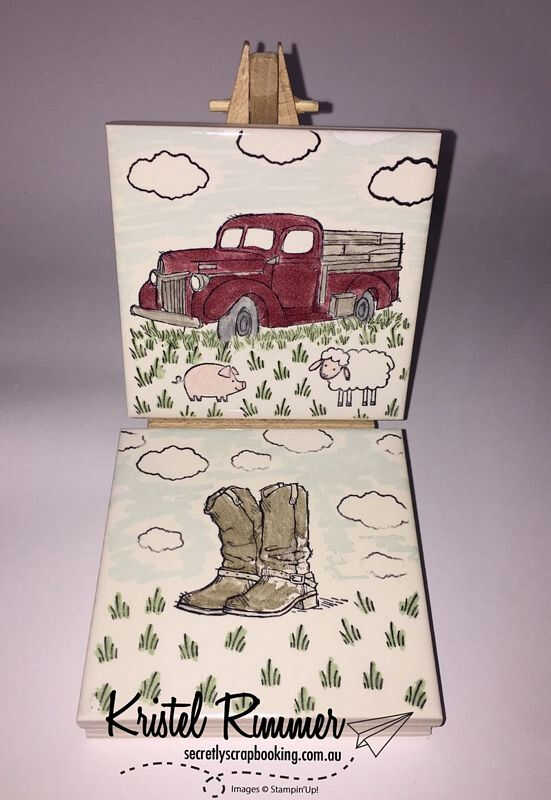 2 Tiles Featuring Country Themed Stamps