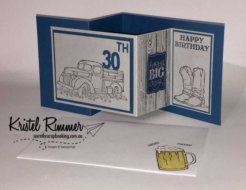 Double Z Card and Envelope Featuring Country Livin', Chalk Talk, Hardwood, Guy Greetings and Dapper Denim