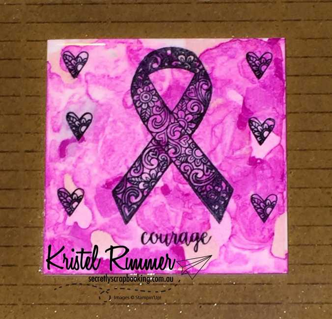 Ribbon Of Courage Stamped Tile