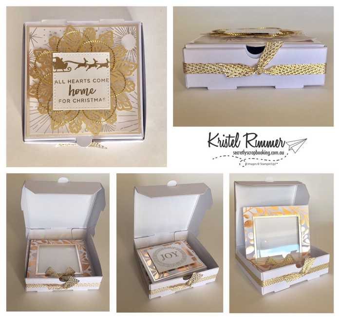 Mini Pizza Box With Year Of Cheer Specialty DSP, Champagne Foil, Hearts Come Home, Cheers To The Year And Foil Snow Flakes - Secretly Scrapbooking (Bunbury, WA)