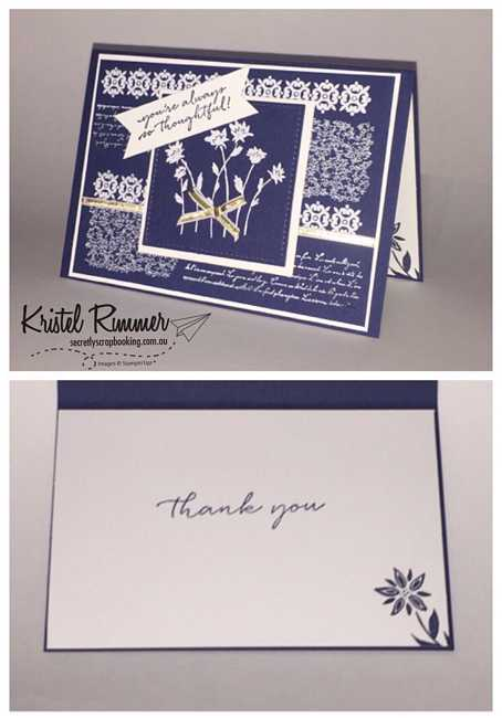 Card 1 Night Of Navy, White Embossing Powder and Gold Ribbon