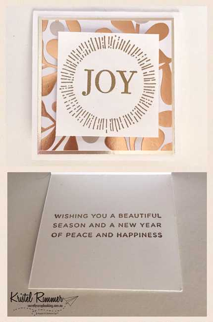 "3 x 3 Card ""Joy"" With Year Of Cheer Specialty DSP And Cheers To The Year Stamp Set Gold Embossed - Secretly Scrapbooking (Bunbury, WA)"