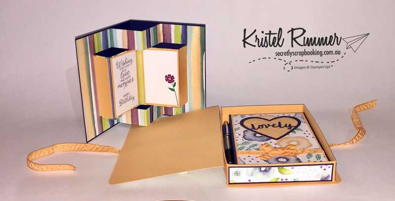 30th Birthday Card Opened, Notebook including Pen Holder, Card and Notebook Box featuring Night Of Navy, Peekaboo Peach, Naturally Eclectic DSP, Oh So Eclectic Stamp Set, Eclectic Layers Thinlits, Large Letters Framelits Beautiful Bouquet Stamp Set, Sweet & Sassy Framelits, Layered Leaves Dynamic Textured Impressions Embossing Folder and Faceted Gems Clear Embellishments - Secretly Scrapbooking (Bunbury, WA)