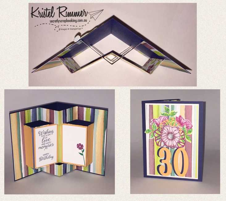 30th Birthday Card Fancy Book Fold With Night Of Navy, Peekaboo Peach, Whisper White, Naturally Eclectic DSP, Beautiful Bouquet Stamp Set, Eclectic Layers Thinlits, Oh So Eclectic Stamp Set and Faceted Gems Clear Embellishments - Secretly Scrapbooking (Bunbury, WA)