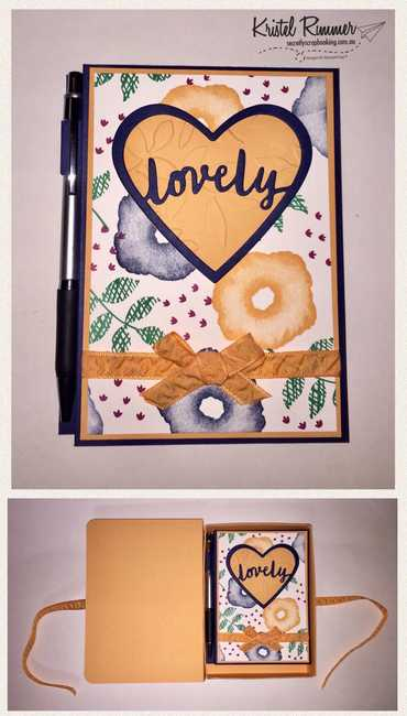 Notebook Including Pen Holder Covered With Oh So Eclectic Stamps Open / Closed With Night Of Navy, Peekaboo Peach, Sweet & Sassy Framelits, Layered Leaves Dynamic Textured Impressions Embossing Folder and Lovely Words Thinlits Featured - Secretly Scrapbooking (Bunbury, WA)