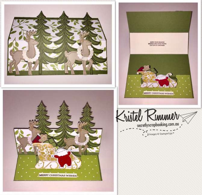 Raised Double Fold Over Style Card with Santa's Suit Stamp Set, Santa's Sleigh, Santa Builder Framelits, Santa's Sleigh Framelits, Punches, Old Olive, Whisper White, Crumb Cake, Merry Little Christmas DSP, Years Of Cheer Specialty DSP, (Stampin' Up!) - Secretly Scrapbooking (Bunbury, WA)
