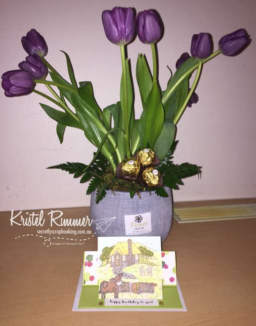 Purple Tulips and Raised Double Fold Over Style Card Assembled with Cozy Cottage Stamp Set, Fruit Basket Stamp Set, Banyard Animals Stamp Set, Lemon Lime Twist, Whisper White, Tutti-Frutti DSP, Stampin' Blends and Faceted Gems (Stampin' Up!) - Secretly Scrapbooking (Bunbury, WA)