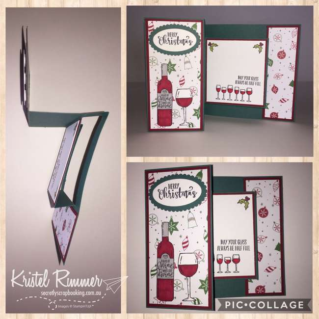 Modified Bookfold card with Half Full Stamp Set, Oval Framelits, Punches, Cherry Cobbler, Whisper White, Garden Green, Be Merry DSP, (Stampin' Up!) - Secretly Scrapbooking (Bunbury, WA)