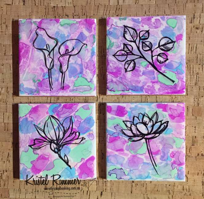 Flower Themed Set Of Four Tile Coasters (Stampin' Up!) - Secretly Scrapbooking (Bunbury, WA)
