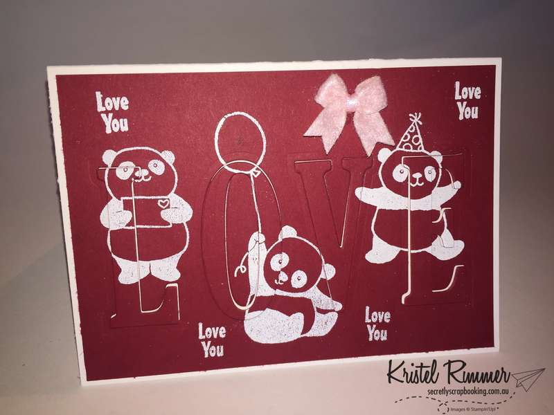 "6"" x 4"" Eclipse Card Closed with Party Pandas Stamp Set, Large Letters Framelits, Real Red, Whisper White, White Embossing Powder and Bitty Bow Embellishment (Stampin' Up!) - Secretly Scrapbooking (Bunbury, WA)"