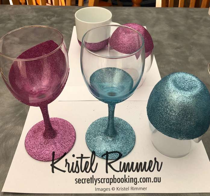 Various Wine Glasses and Mugs with Pink Or Light Blue Glitter without Decals - Secretly Scrapbooking (Bunbury, WA)