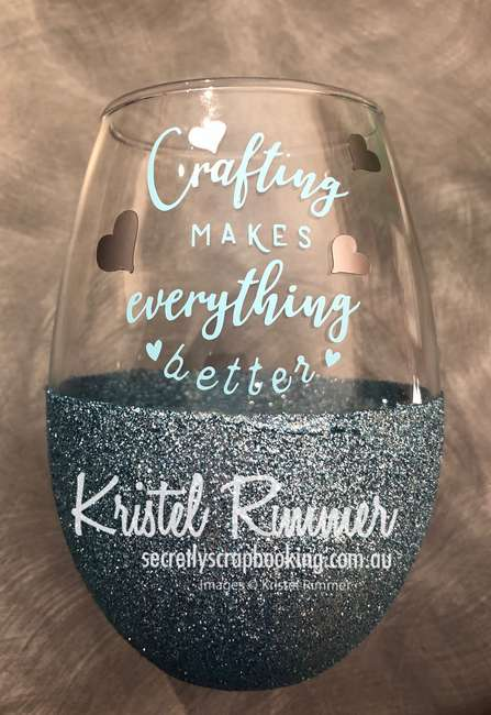 Stemless Wine Glass with Light Blue Glitter and Crafting Makes Everything Better Decal - Secretly Scrapbooking (Bunbury, WA)