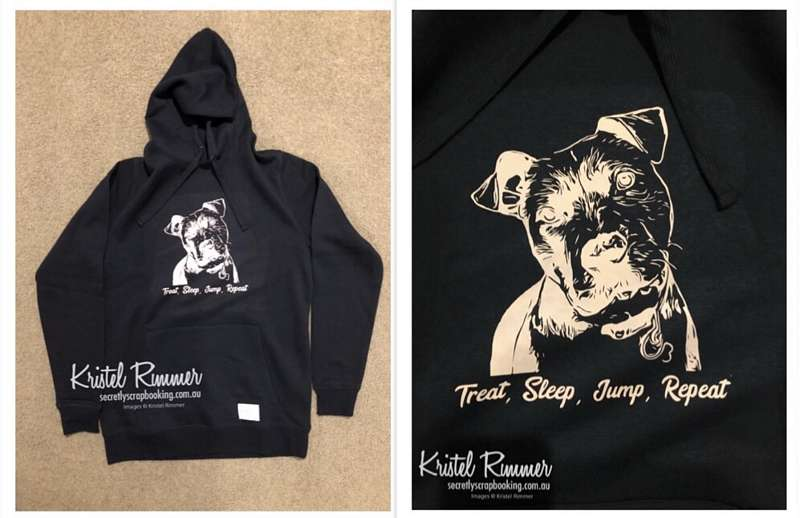 Female Black Hoodie - Personalised Photo Based Dog Head Design with Light Pink and Custom Tagline Theme - Secretly Scrapbooking (Bunbury, WA)