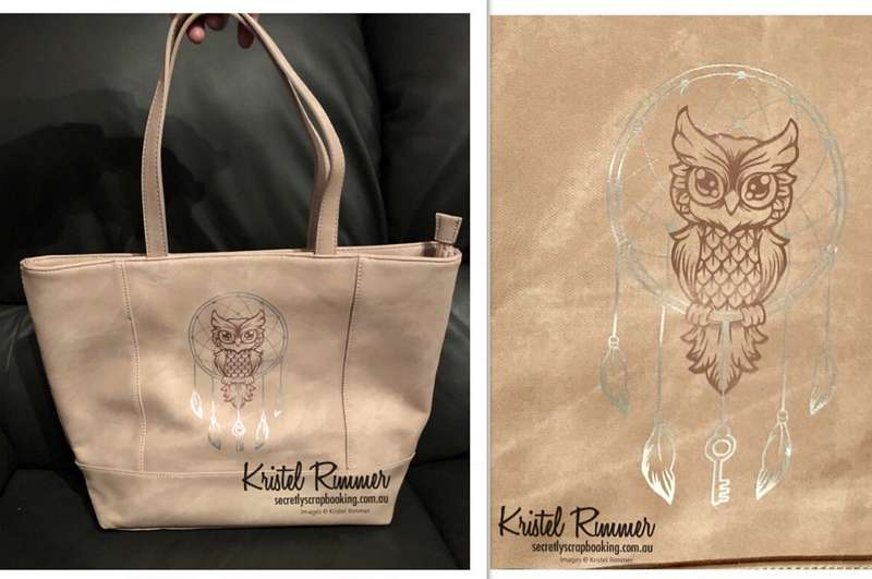 Pink Blush Colour Block Tote Bag - Owl / Dream Cather Design with Rose Gold and Silver Colour Theme - Secretly Scrapbooking (Bunbury, WA)