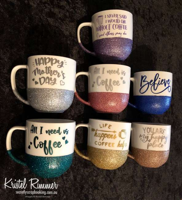 Seven (7) Ceramic Coffee Mugs Side On With Various Glitter Colours and Various Designs - Secretly Scrapbooking (Copyright 2018) (Bunbury, WA)