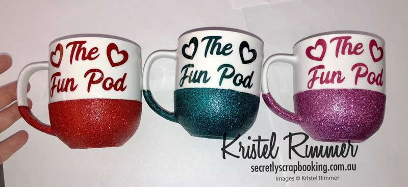 Ceramic Coffee Mug With Red, Teal and Pink Glitter Commonly Using The Fun Pod Design - Secretly Scrapbooking (Copyright 2018) (Bunbury, WA)
