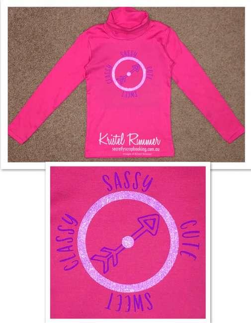 Hot Pink Girls Skivy With Purple and Moave Glitter Sassy, Cute, Sweet, Classy Compass Design - Secretly Scrapbooking (Copyright 2018) (Bunbury, WA)