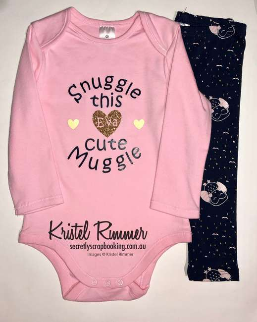 Pink baby onesie gift set, snuggle this cute muggle with name - Secretly Scrapbooking (Bunbury, WA)
