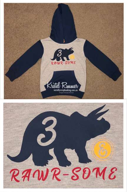 Grey and Navy Boys Hoodie With Navy Triceratops Three (3) Cutout, Yellow Ampersand and Red Rawr-some Design - Secretly Scrapbooking (Copyright 2018) (Bunbury, WA)