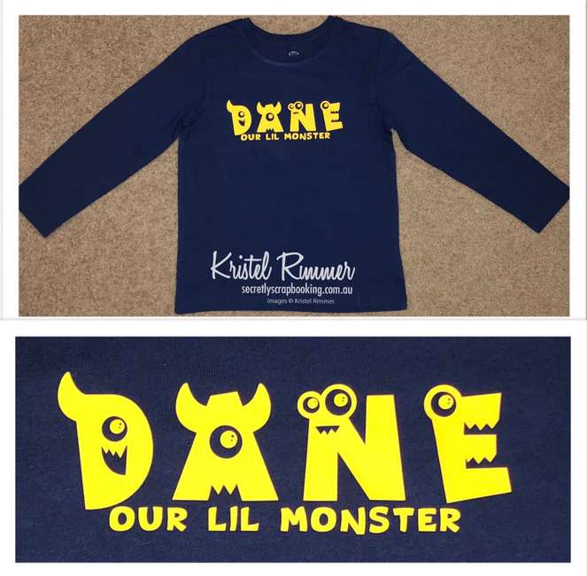 Navy Boys Shirt With Yellow Dane Monster Text and Yellow Our Lil Monster Design - Secretly Scrapbooking (Copyright 2018) (Bunbury, WA)