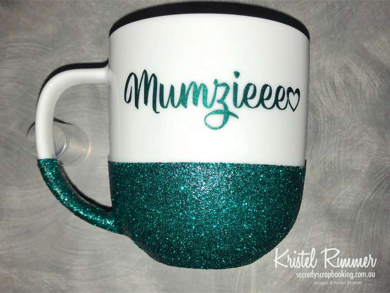 Ceramic Coffee Mug With Teal Glitter and Mumzieee Design - Secretly Scrapbooking (Copyright 2018) (Bunbury, WA)