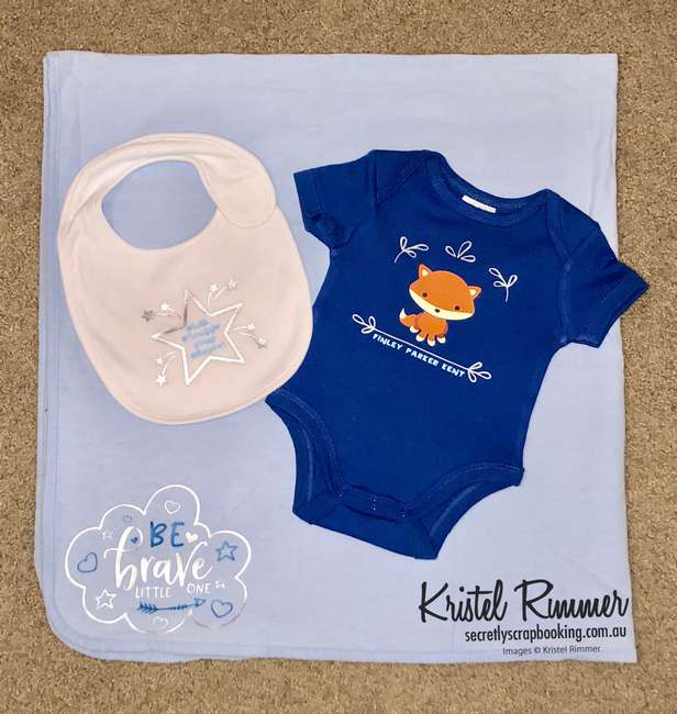 Blue Fox baby gift set with onesie, baby wrap and bib featuring #Milk, #Snuggle, #Nap and #Repeat, Be Brave Little One, Fox image and baby name - Secretly Scrapbooking (Bunbury, WA)