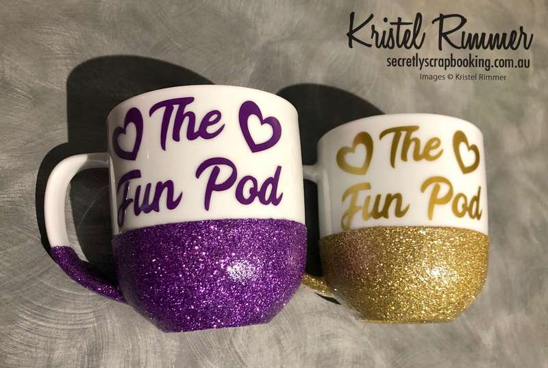 Ceramic Coffee Mug With Purple and Gold Glitter Commonly Using The Fun Pod Design - Secretly Scrapbooking (Copyright 2018) (Bunbury, WA)