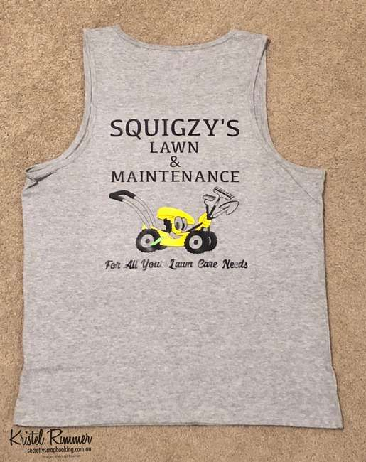 Squigzy's Lawn & Maintenance Singlet Back With Black Text And Image Logo - Secretly Scrapbooking (Bunbury, WA)