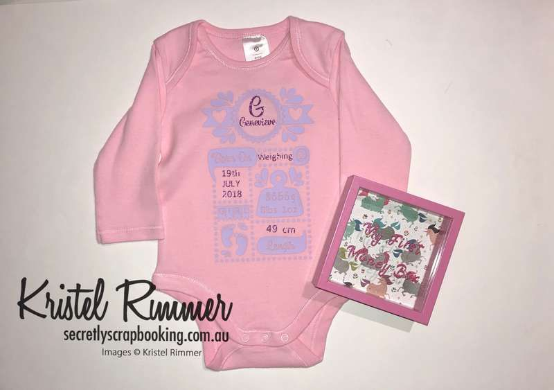 Pink onesie and moneybox with baby oneise showing birth details including name, birthdate, time, weight and length; moneybox features my first money box text and unicorn backing - Secretly Scrapbooking (Bunbury, WA)
