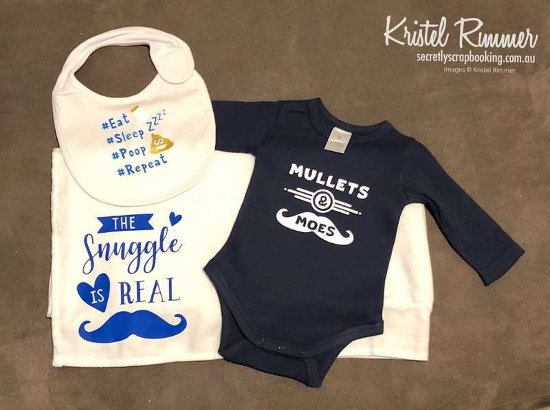 Blue and White Mullets and moes baby gift set with onesie, baby wrap and bib featuring eat sleep poop repeat, the snuggle is real, mullets and moes - Secretly Scrapbooking (Bunbury, WA)