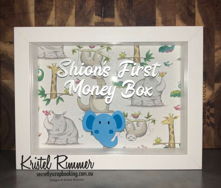 Animal theme moneybox with names first money box text, elephant head and animal backing - Secretly Scrapbooking (Bunbury, WA)
