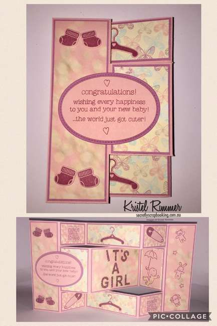 Pink baby trifold fancyfold card - Secretly Scrapbooking (Bunbury, WA)