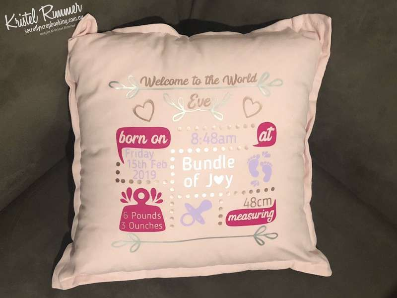 Pink cotton cushion with baby theme showing birth details including name, birthdate, time, weight and length - Secretly Scrapbooking (Bunbury, WA)